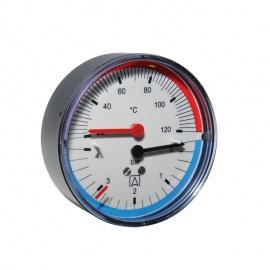 "Afriso TM80 Thermo-Manometer 0 – 4bar 20 - 120°C Anschluss hinten 1/2"" AG Ø 80mm 63341"
