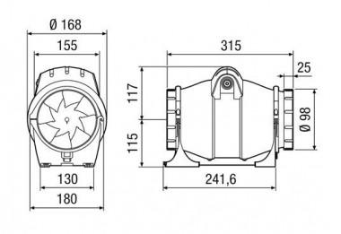 Maico Diagonal-Ventilator ERK 100 ST zweistufig, mit Timer, DN100