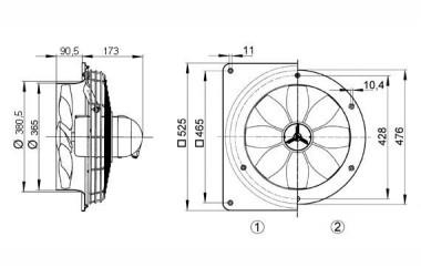 Maico Axialwandventilator DZQ 35/4 B Ex e Wandplatte, Drehstrom, Ex-Schutz, DN350