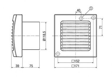 Maico Kleinraumventilator ECA 120 VZ Innengitter, Verzögerungszeit, DN120