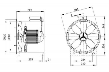 Maico Axial-Rohrventilator EZR 35/4 B Wechselstrom, DN350
