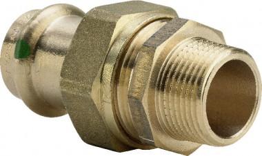 Viega Verschraubung mit SC Sanpress 2265 flachdichtend in 22mm x R3/4 Rotguss