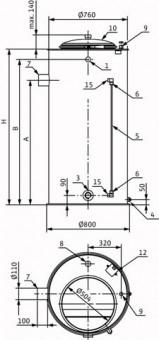 Wilo Vorbehälter f. Trinkwasseranwendung (Runde Ausführung) 300l