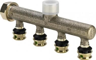Viega Verteiler mit SC Raxofix 5326.05 in 16mm x G3/4 - 4fach Rotguss