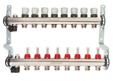 Simplex Heizkreisverteiler m.Durchflussm.anz. 11 HKS, Edelstahl