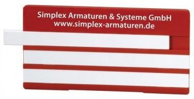 Simplex Bezeichnungsschild m. 3 Leerleisten 100 x 50mm Kunststoff gelb m. Aufdruck