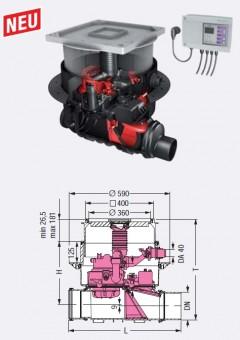 KESSEL-Ecolift zum Einbau in die Bodenplatte, schwarze Abdeckung und Ablauf, DN100