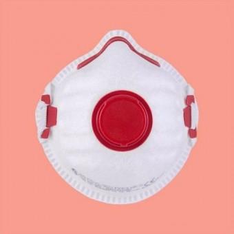 FFP3 Maske Mundschutz in weiß mit rotem Ventil